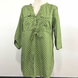 Tops - FREE ADD TO ORDER Green Large Top White Polka Dots